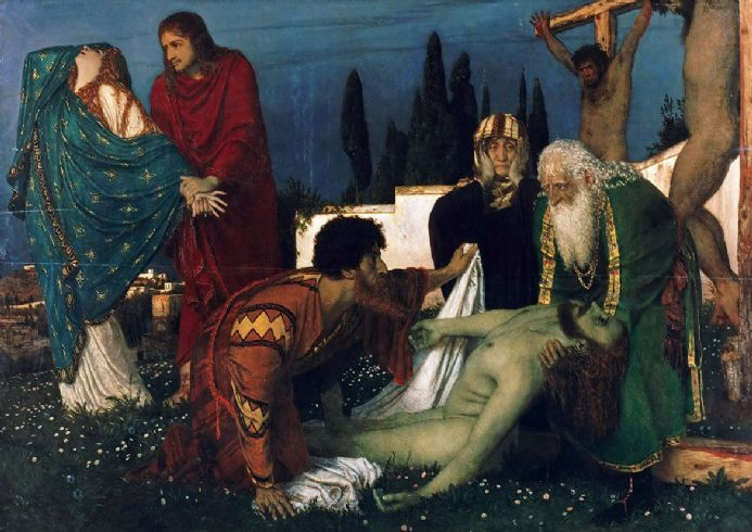 Bocklin, Arnold: The Deposition. Fine Art Print/Poster. Sizes: A4/A3/A2/A1 (004256)